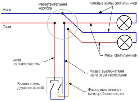 Как сделать с одноклавишного выключателя двухклавишный